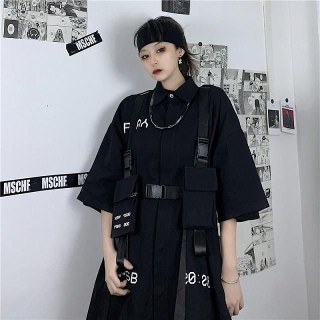 レディース ゴスロリ系 黒シャツ オーバーサイズ 英字ロゴ サイドポケット ストラップベルト付き 病み可愛い ブラック V系 ビジュアル系
