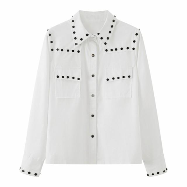 モード系 春服 シャツ ブラウス 欧米系 ストリート系シャツ メタルボタン 大人きれいめ ホワイト おしゃれ着 オルチャン 10代 20代