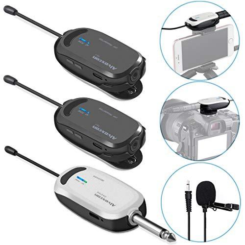 Alvoxcon ワイヤレスマイク ヘッドセット ピンマイク ワイヤレス UHF クリップマイク 無線マイク 動画撮影 録音 拡声器 カメラ スマホ 軽