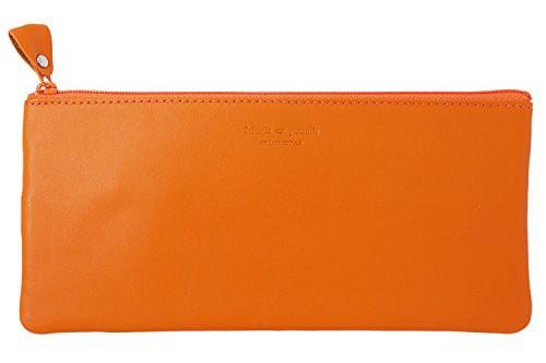 「配送無料」スリップオン トラベルポーチ ノワール 革 オレンジ NSL-2805