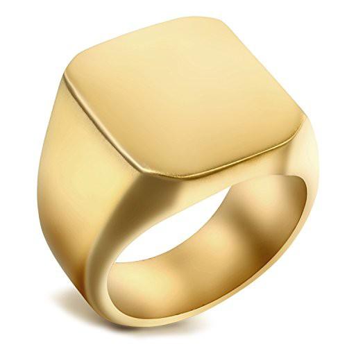 「配送無料」Flogno メンズリング ステンレス指輪 結婚指輪 シンプル カジュアル 幅/8MM クリスマス プレゼント 誕生日 記念日 ゴールド