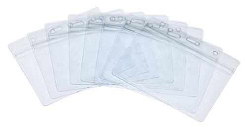 「配送無料」Fushing 50個 クリアネーム 名札IDカードホルダーケース バッジ防水セットプラスティック製 社員証 横型(透明色) (10*8.
