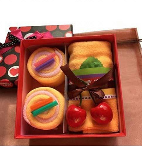 「配送無料」MoonFlower (ムーンフラワー) ギフト タオル お祝い かわいい スイーツ ロール ケーキ (オレンジ)