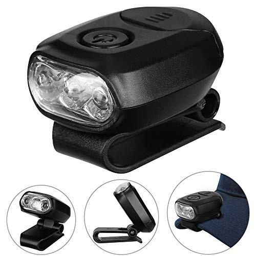 「配送無料」防水 LEDキャップライト ヘッドライト 帽子ライトクリップ 90度角度調節 3つLED 小型 軽量 携帯便利 ポケット/帽子に挟んで