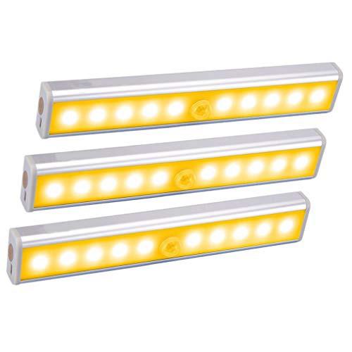 「配送無料」MOKIRO LEDセンサーライト 室内 人感 センサー ライト 省エネ 電池式 3Mテープ マグネット付き 10LED電球 長さ19cm 120度感