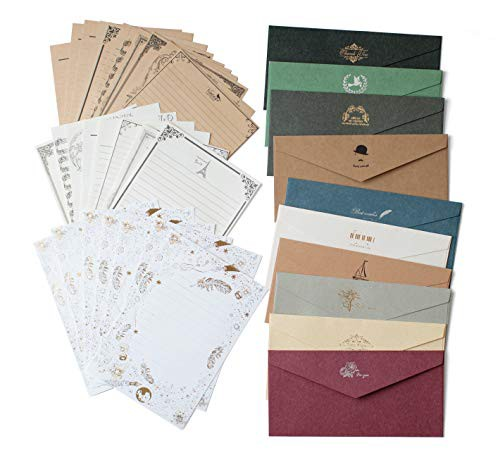 「配送無料」【Wagosow】おしゃれな レターセット まとめ買い 封筒10枚 便箋24枚 10色3タイプから選べる アンティーク風 お礼 人気 お祝