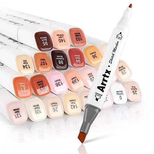 「配送無料」Arrtx イラストマーカー 肌色 24色 アルコールマーカーペンスキン系マーカーペン 肌色 ダブルペン先付き 太字 細字、コミッ