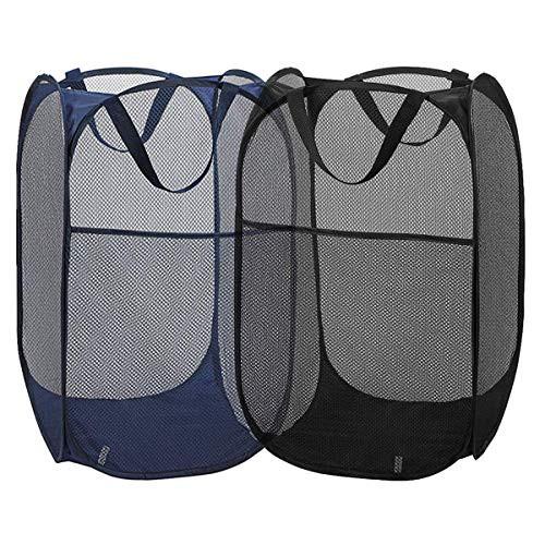 「配送無料」折り畳み式ランドリーバスケット メッシュポップアップ 汚れた衣類 家庭用 旅行用 子供玩具収納 約36X36X61cm ブルー1個ブラ
