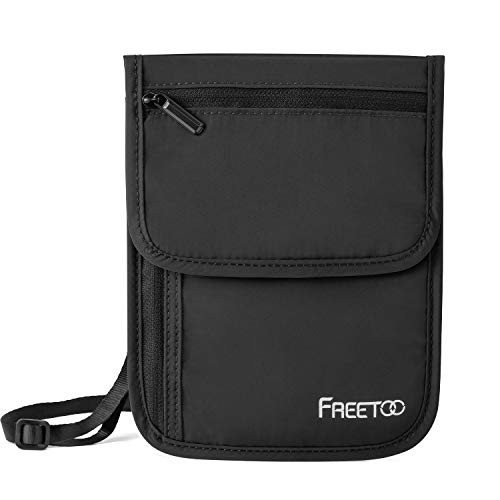 「配送無料」FREETOO パスポートケース RFIDブロッキング素材 首下げ セキュリティポーチ 軽量 肌触り良い パスポートバッグ 海外旅行/出