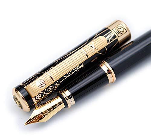 「配送無料」Picasso ピカソ 902 万年筆 紳士シリーズ 金属ペン オリジナルボックス M型中字ペン先0.7mm (黒と黒グリップと金クリップ)