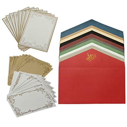 「配送無料」LUCKY FUN レターセット封筒 10色10枚 便箋 24枚 アンティーク 多色