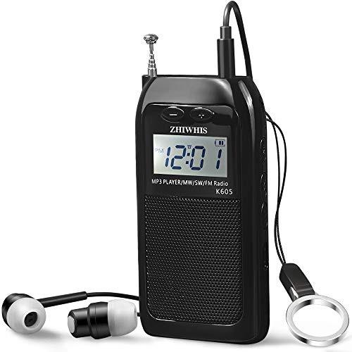 「配送無料」ZHIWHIS ポータブルラジオ 充電式 デジタル ポケットラジオ 高感度 大容量バッテリー 首掛け AM FM SWラジオ 小型 バックラ