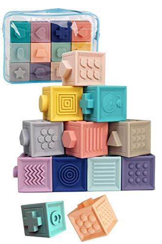 「配送無料」TAOTAO 積み木 みて・さわって・たのしい パステルキューブ 赤ちゃん おもちゃ 出産祝い 知育玩具 お風呂 (12個)