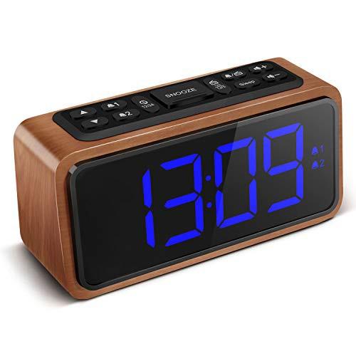 「配送無料」目覚まし時計 置き時計 デジタル クロック 大音量アラーム 木目 LCD大画面 FMラジオ付き 三段輝度調節 携帯充電可能 USB電源