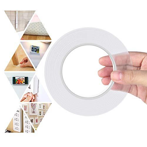 「配送無料」両面テープ 魔法テープ のり残らず 繰り返し はがせる 透明 超強力 粘着テープ 防水 耐熱 強力 滑り止め 洗濯可能 多機能 多