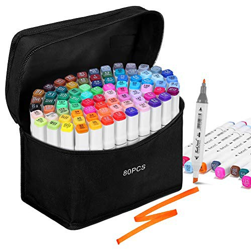 「配送無料」ikasus イラストマーカー マーカーペン 80色セット 油性 2種類のペン先 アートマーカー カラーペン コミック用 マンガ用ペン