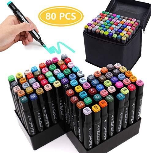 「配送無料」マーカーペン80色 イラストマーカー YunTech 豊富な色 太細両端 油性 ツインマーカー色ペン DIY 学習用 美術 絵描き 落書き