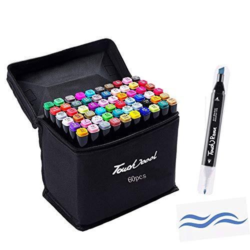 「配送無料」hosum マーカーペン イラストマーカー 60色 セット 水彩ペン 2種類のペン先 太字 細字 油性コミック用 塗り絵、描画、落書き