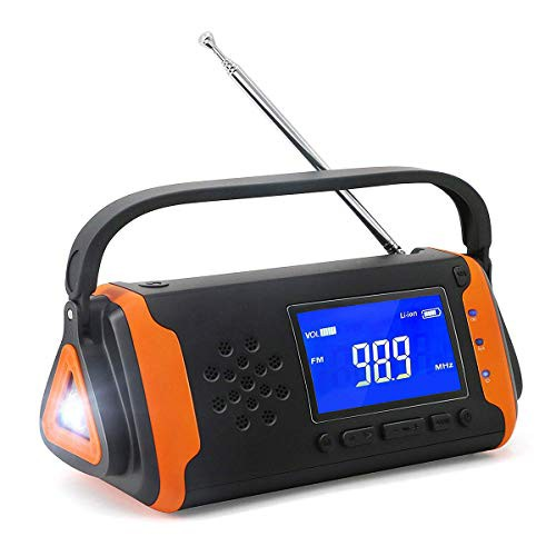 「配送無料」防災ラジオ 手回し充電 ソーラー充電 懐中電灯 SOSアラーム 4000mAH