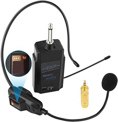 「配送無料」Moukey 拡声器 小型 ワイヤレスマイク ヘッドセットマイク UHF 50m使用範囲 ヘッドセットとハンドヘルド2 in 1 スピーカー/