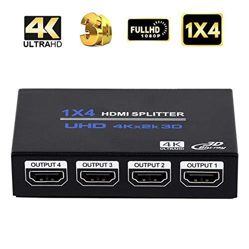 「配送無料」1x4 HDMIスプリッター HDMI 分配器 1 入力 4 出力 HDMIスプリッターオーディオビデオディストリビューターボックス 3D 4K x