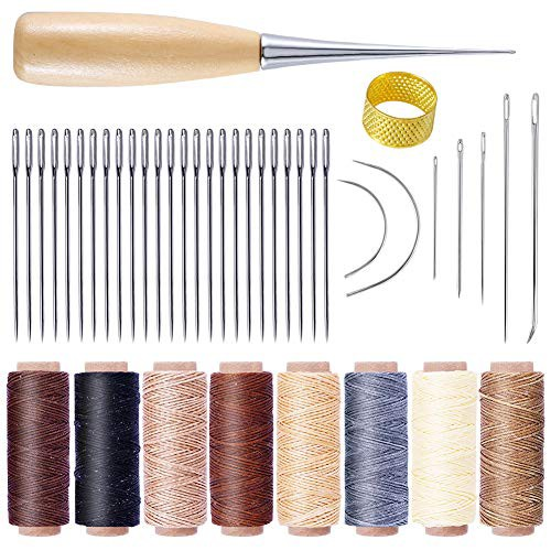 「配送無料」レザークラフト縫製キット 縫い道具セット レザーツール セット 50m 8色 蝋引き糸 縫い針 縫い糸用針 千枚通し 皮革 手作り