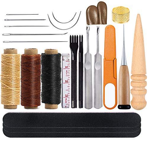 「配送無料」レザークラフト 工具 道具セット レザークラフト 手縫いセット 蝋引き紐 革縫い針 菱目打ち 千枚通し レザーツール 初心者セ