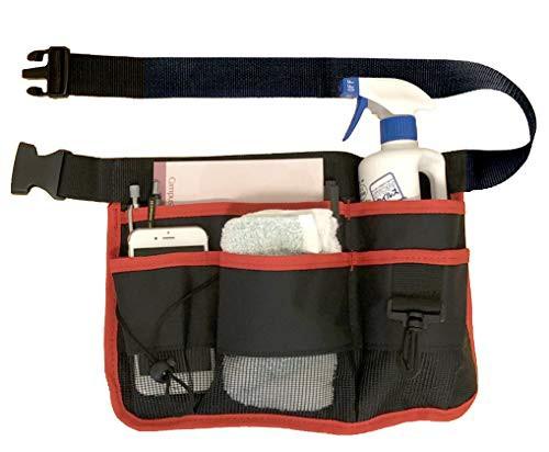 「配送無料」NYSh エプロンバッグ 仕事用 小物入れ 腰袋 作業用 ポケット 工具袋 ウエストポーチ (レッド)