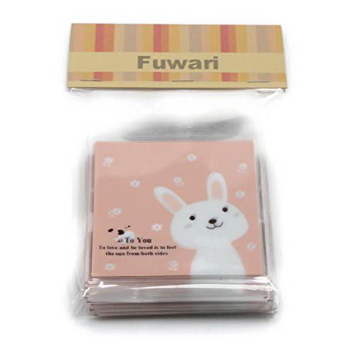 【Fuwari】アニマル 動物 袋 小袋 お菓子 チョコレート クッキー キャンディー ラッピング 100枚 包装袋 小分け プレゼント (うさぎ(ピ