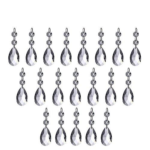 20連 透明色 クリスタルガラスビーズ 手作り サンキャッチャー クリスタルガラスボール ZILONG 涙型ドロップサンキャッチャー ペンダント