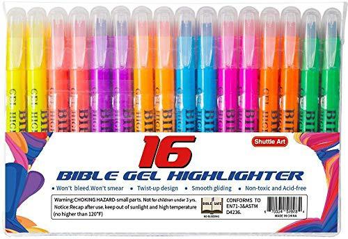 Shuttle Art 蛍光ペン 固形蛍光マーカー 8色 16本セット 蛍光クレヨン 速乾 大容量 裏移りしない 繰り出し式 ゲルインク 教科書/ノード/