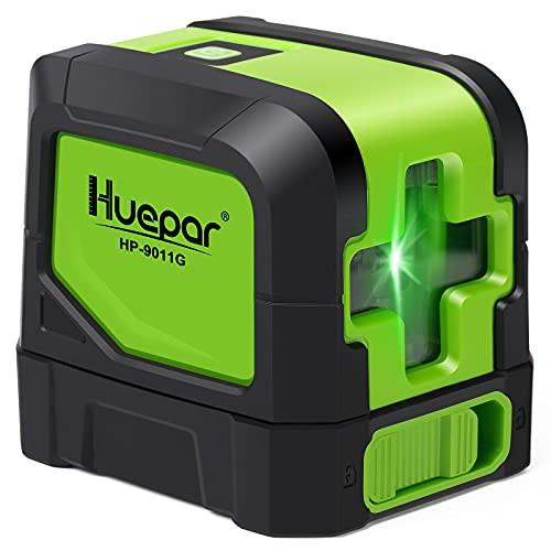 Huepar 2ライン グリーン レーザー墨出し器 クロスラインレーザー 緑色 レーザー 自動補正 傾斜モード 高輝度 ライン出射角110* ミニ型