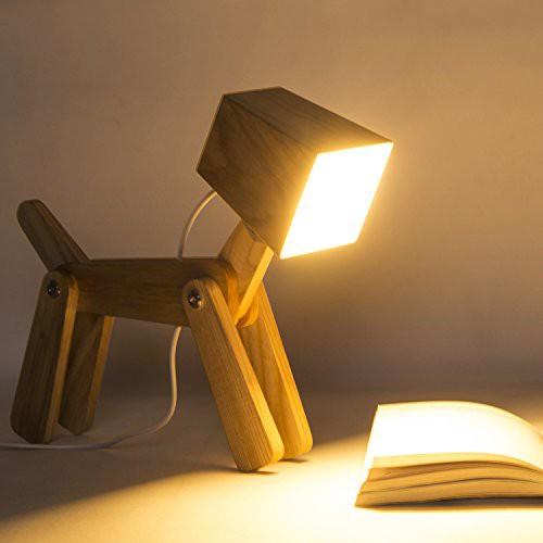 SUSIDUN LEDデスクライト木製 テーブルランプ三段階調光 電気スタンド 寝室 テーブルランプ タッチセンサー 動物の犬の形 子供 装飾 枕元
