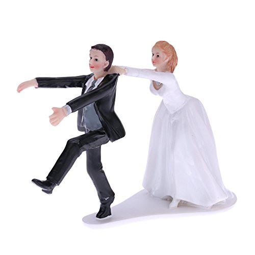 かわいいと面白い合成樹脂花嫁・新郎ウェディング ケーキ トッパー ロマンチックな結婚式のパーティーの装飾置物工芸ギフト