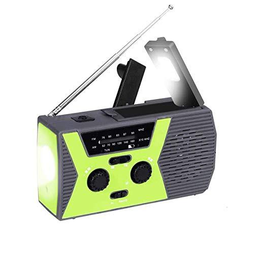 TopYart 防災ラジオ 多機能 懐中電灯 ソーラー発電 手回し充電 LEDライト USB 充電式 携帯ラジオ スマホ充電 iPhone Android 全スマホ充