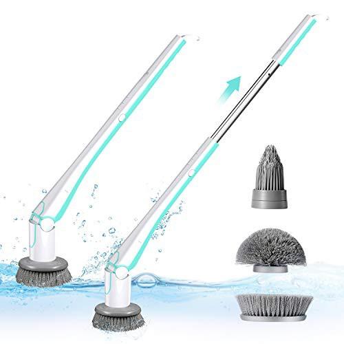 【送料無料】NPOLE 最新版 電動お掃除ブラシ デッキブラシ お風呂掃除 バスポリッシャー 3つのブラシ付 風呂掃除ブラシ おしゃれ 手持ち