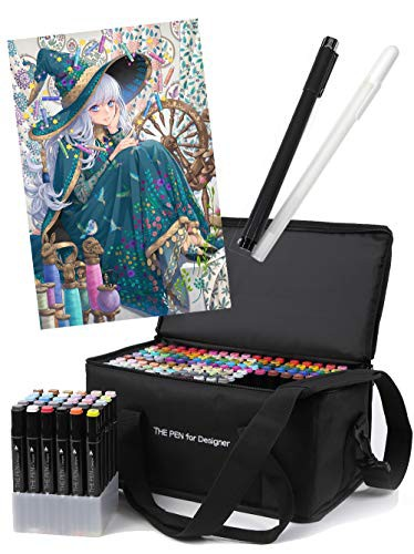 【送料無料】THE PEN for Designer マーカーペン 168色 セット ペンケース スタンド ホワイト ライナーペン 付き イラストマーカー アル