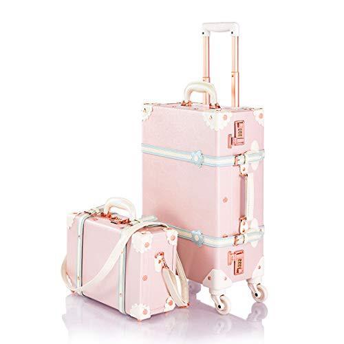 【送料無料】トランクケース かわいい キャリーケース 機内持ち込み スーツケースセット アンティーク調 キャリーバッグ ダイヤルロック