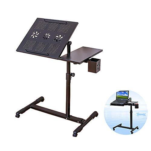 【送料無料】QSKL ノートパソコンスタンド 昇降式サイドテーブル キャスター付き 作業台 炭素鋼製 角度調整 補助テーブル 軽量 マウスパ