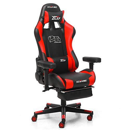 【送料無料】XCGAME デスクチェア ゲーミングチェア オフィスチェア マッサージ機能腰痛対策 仕事椅子 伸縮可能のフットレスト 事務椅子