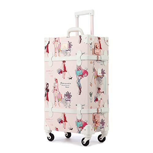 【送料無料】Uniwalker かわいい キャリーケース TSAロック トランクケース 復古主義 旅行 出張 静音四輪 可愛い スーツケース 女の子 S