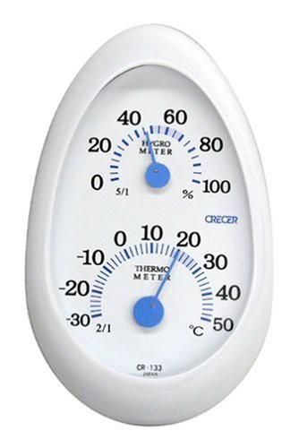 送料無料クレセル 温度計・湿度計 タマゴ ホワイト 【壁掛け・卓上両用】 CR-133W