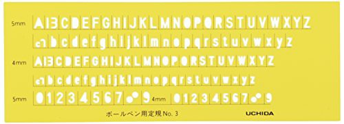 送料無料ウチダ テンプレート 英字数字定規 ボールペン用 No.3 1-843-1203