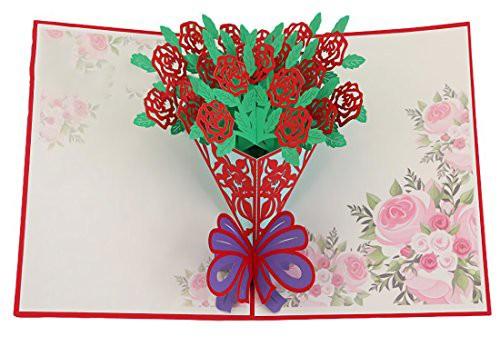 送料無料rubitas 飛び出す グリーディング メッセージ カード ホップアップ 色紙 手紙 寄せ書き アルバム 誕生日 (バラ 花束)