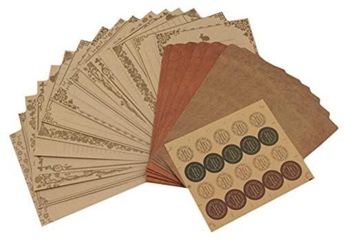 送料無料ZERONOWA アンティーク 調 レターセット 手紙 封筒 便箋 シール セット (アンティーク調)