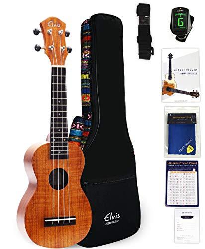 送料無料ELVIS エルビス 憧れのハワイアンコア材 ソプラノ ウクレレ K100S【歯切れの良い音色】【初心者セット8点:エスニック風ケース