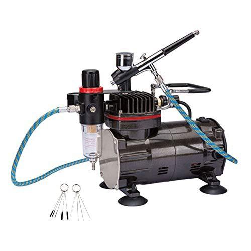 送料無料Ausuc エアーブラシ ミニ コンプレッサー セット ダブルアクション エアブラシ 重力フィード オイルレス エアーコンプレッサー、