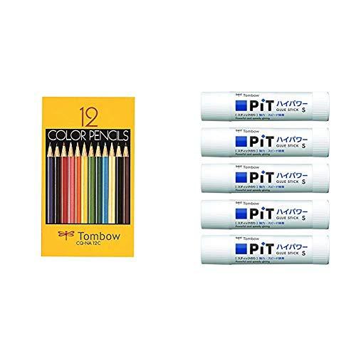 送料無料【セット買い】トンボ鉛筆 色鉛筆 NA 12色 紙箱入 CQ-NA12C スティックのり ピットハイパワー S 5個 HCA-511