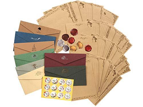 送料無料TSUKURIRO レターセット 封筒 8枚 便箋 32枚 シール2種類 アンティーク クラシック ロング (ロゴ入り封筒)