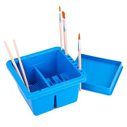 送料無料筆洗い バケツ 筆洗器 画材 小型 多機能 画材筆/水彩画筆/ブラシ/油絵筆かけ 四角形 プラスチック 蓋付き 持ち運び 美術用品 旅